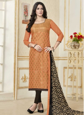 Black and Coral Straight Salwar Kameez For Casual