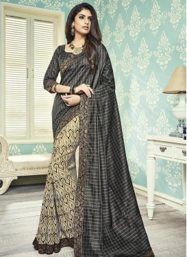 Black and Cream Art Silk Half N Half Saree