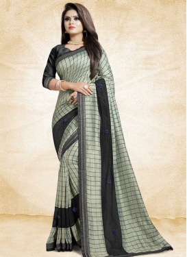 Black and Cream Art Silk Trendy Classic Saree