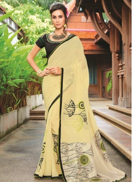 Black and Cream Contemporary Style Saree