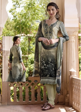 Black and Cream Crepe Silk Churidar Suit For Ceremonial