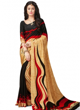 Black and Cream Digital Print Work Traditional Saree