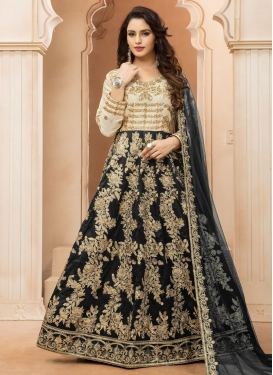 Black and Cream Embroidered Work Anarkali Salwar Kameez