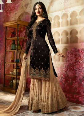 Black and Cream Embroidered Work Sharara Salwar Suit