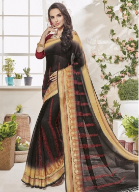 Black and Cream Embroidered Work Trendy Classic Saree