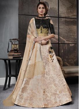 Black and Cream Jacquard Silk Designer A Line Lehenga Choli