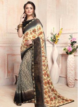 Black and Cream Lace Work Designer Contemporary Saree