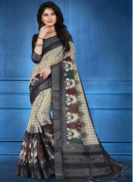 Black and Cream Linen Classic Saree