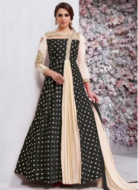 Black and Cream Long Length Designer Suit For Festival