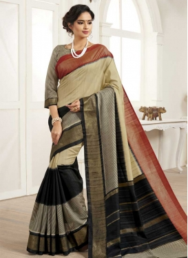 Black and Cream Print Work Trendy Classic Saree