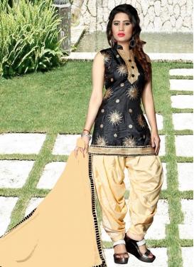 Black and Cream Tafeta Silk Punjabi Salwar Kameez