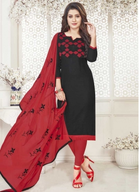 Black and Crimson Churidar Salwar Kameez