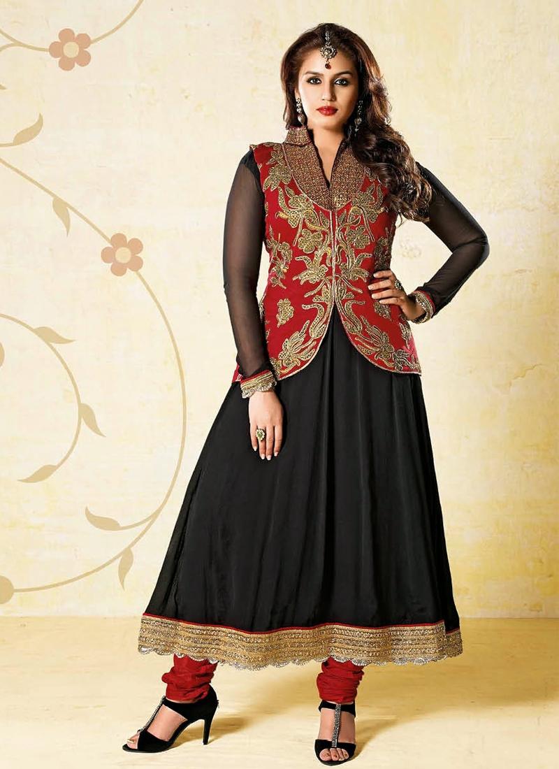 Black And Crimson Color Hema Kureshi Salwar Kameez