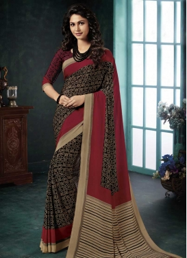 Black and Crimson Designer Contemporary Saree