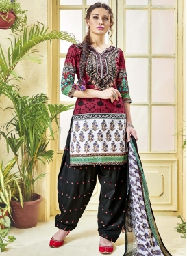 Black and Crimson Designer Semi Patiala Salwar Suit