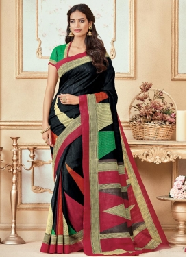Black and Crimson Print Work Traditional Saree