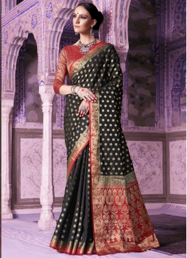 Black and Crimson Thread Work Traditional Saree