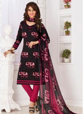 Black and Fuchsia Churidar Salwar Suit For Casual