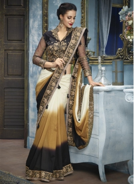 Black and Gold Embroidered Work Traditional Designer Saree
