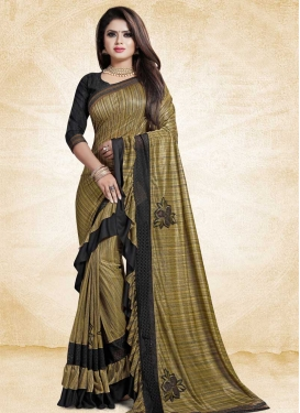 Black and Gold Trendy Designer Saree For Ceremonial