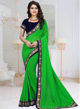 Black and Green Beads Work Trendy Saree
