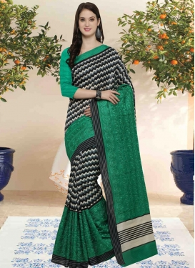 Black and Green  Bhagalpuri Silk Trendy Saree