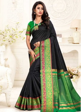 Black and Green Cotton Silk Designer Contemporary Style Saree