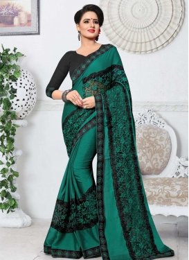 Black and Green Embroidered Work Designer Contemporary Saree