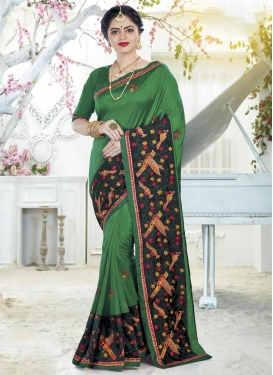 Black and Green Embroidered Work Traditional Designer Saree