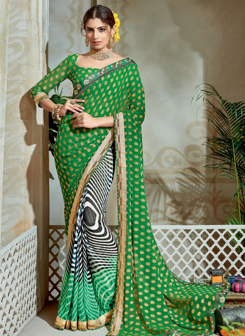 Black and Green Half N Half Trendy Saree