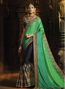 Black and Green Satin Silk Half N Half Designer Saree