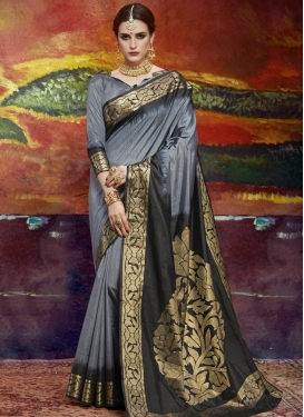Black and Grey Contemporary Saree