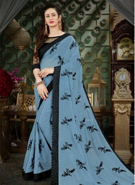 Black and Grey Contemporary Saree For Ceremonial