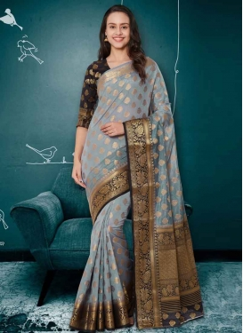 Black and Grey Contemporary Style Saree