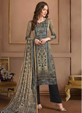 Black and Grey Crepe Silk Pant Style Classic Salwar Suit