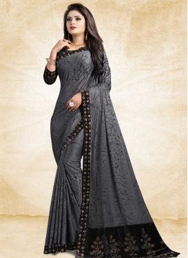 Black and Grey Designer Contemporary Saree