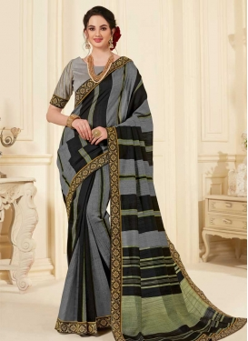 Black and Grey Designer Contemporary Saree For Ceremonial