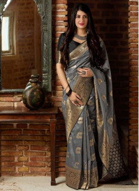 Black and Grey Designer Contemporary Saree For Festival