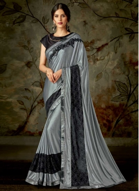 Black and Grey Designer Contemporary Style Saree