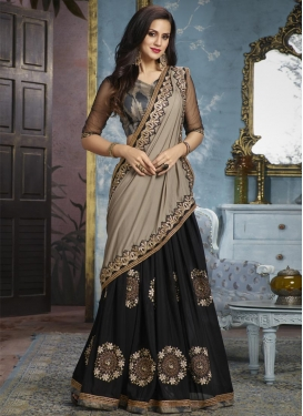 Black and Grey Designer Half N Half Saree
