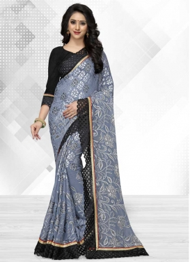 Black and Grey Embroidered Work Designer Traditional Saree
