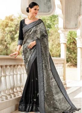 Black and Grey Embroidered Work Half N Half Trendy Saree