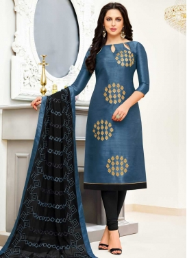 Black and Grey Embroidered Work Trendy Straight Salwar Kameez