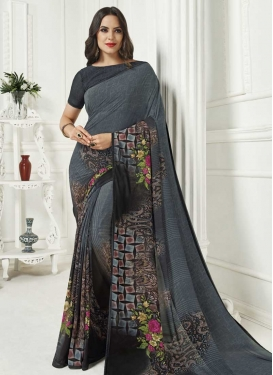 Black and Grey Faux Georgette Trendy Saree