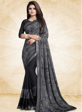 Black and Grey Half N Half Trendy Saree For Festival