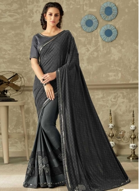 Black and Grey Lace Work Half N Half Saree
