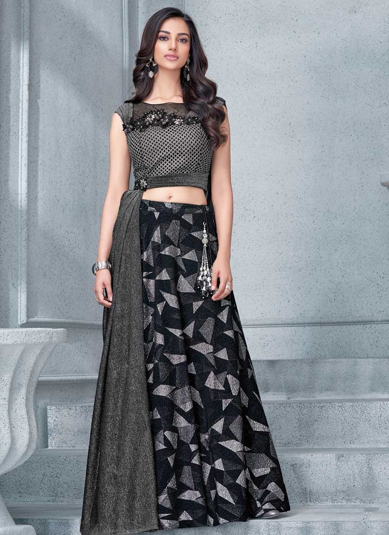 Black and Grey Lycra Designer A Line Lehenga Choli
