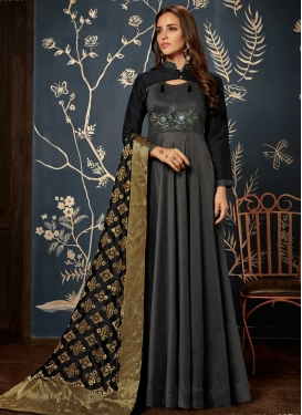 Black and GreyTafeta Silk Readymade Classic Gown For Ceremonial
