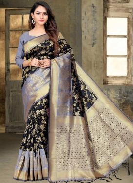 Black and Grey Thread Work Trendy Saree