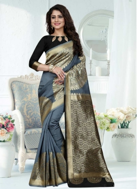 Black and Grey Trendy Saree